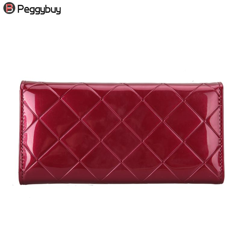 Fashion Women Wallets Party Long Solid Patent Leather Clutch Purse Lady Vintage Plaid Wallet Casual Female Card Holder Purses