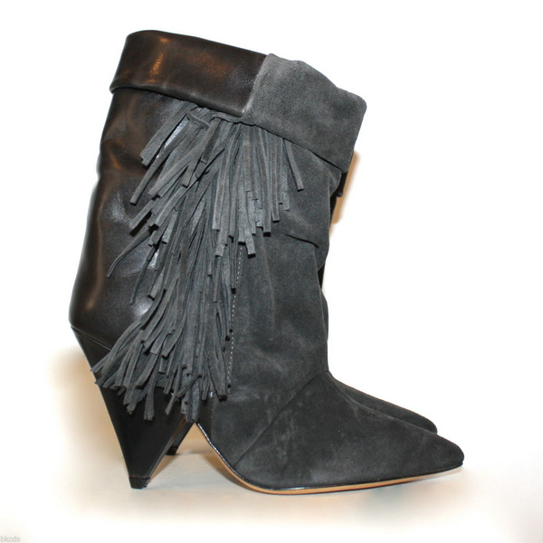 Winter hot selling boots mid-calf pointed -toe high spike heels slip-on fringe design women boots party tassel shoes black hot selling 2015 women denim boots pointed toe tassel patchwork knee high boots crystal thin high heels winter motorcycle boots