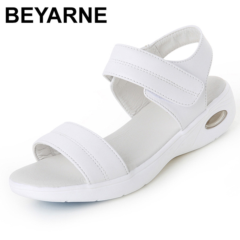 BEYARNE Summer 2018 Woman white Nurse shoes women soft Comfortable Air cushion casual genuine leather Antiskid Sandals shoes summer shoes woman handmade genuine leather soft sandals casual comfortable women shoes 2017 new fashion women sandals