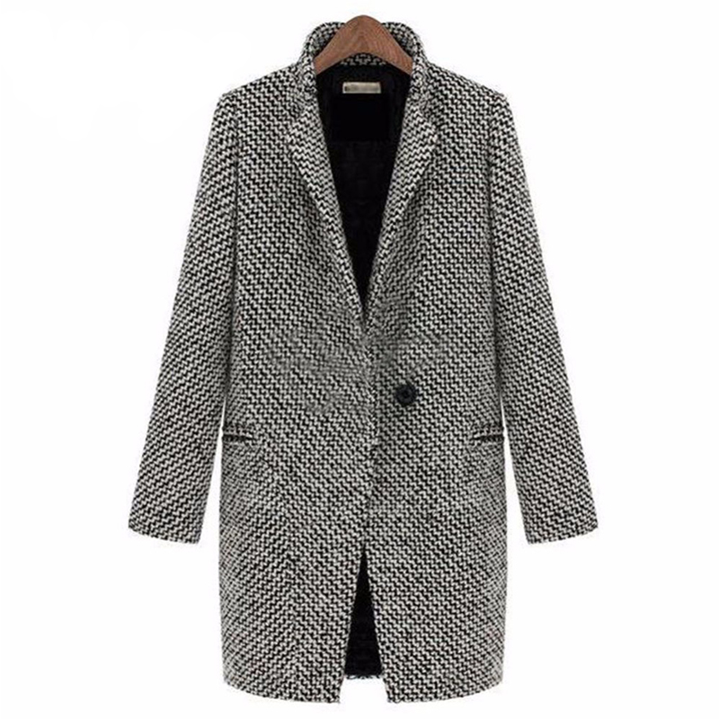 2018 Autumn Winter Suit Blazer Women 2018 Formal Houndstooth Woolen Jackets Work Office Lady Long Sleeve Blazer Outerwear