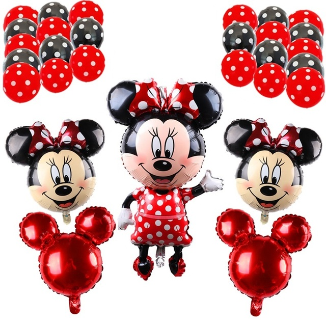 BINGTIAN 29pcs Minnie Mickey Mouse Foil Balloon Head Red Birthday Decoration 12 Inch Dot Latex Ball Baby Shower