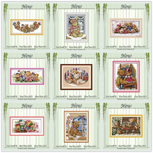 Bear family teddy cartoon paintings counted printed on canvas DMC 14CT 11CT Chinese Cross Stitch Needlework Sets Embroidery kits