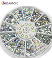 2016 Hot sales 2/3/4/5mm Mixed 3D Nail Art Decorations White Pink Grey Women Glitters Diy Rhinestones For Nails Tools