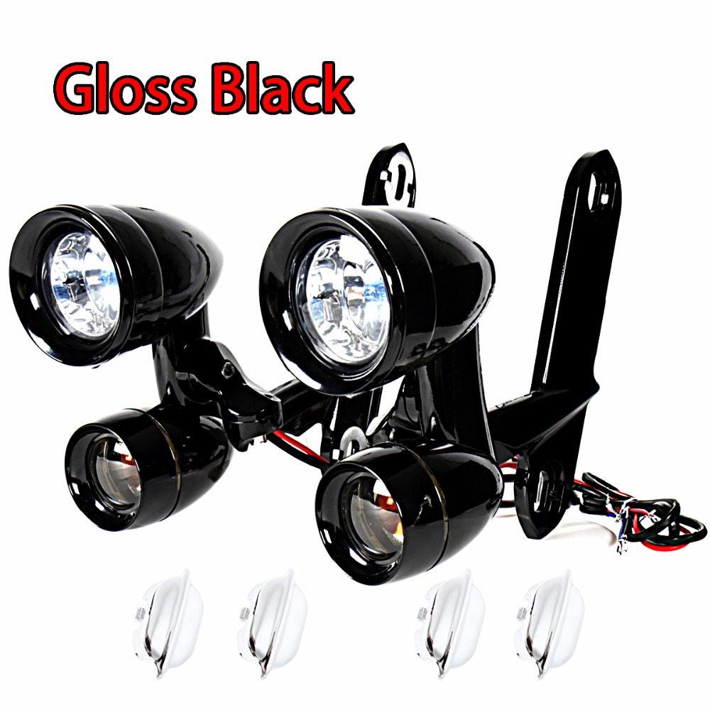 Gloss Black Fairing Mounted Driving Lights Turn Signals For Harley Electra Street Glide Road King 1996