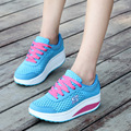 Fashion 2017 Spring Women Casual Shoes Lace Up Breathable Hight Increasing Mesh Women Walking Flats Trainers Shoes