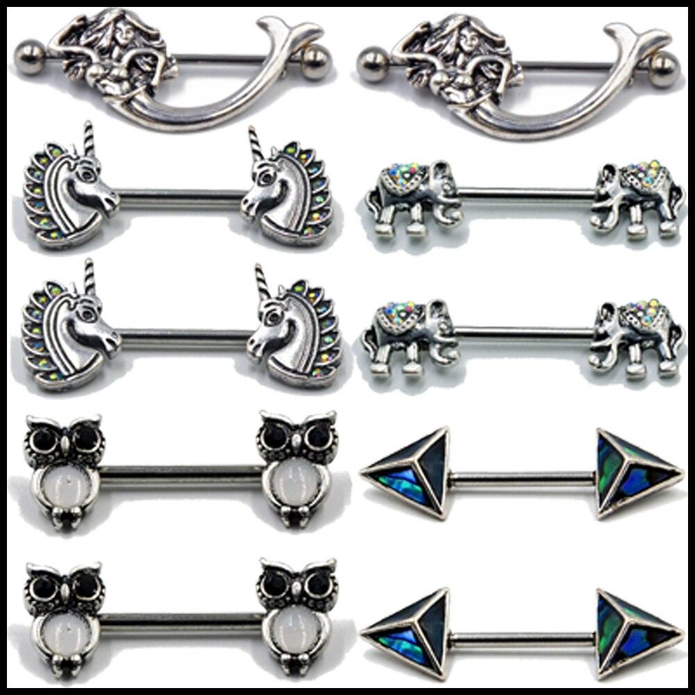 2pcs Owl Nipple Shield Straight Barbell-Nipple Ring Piercing 16G