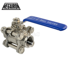 MEGAIRON BSPT 1/2″ DN15 3 Piece Full Port Ball Valve Thread Type Stainless Steel 316 1000psi Handle with Blue Vinly Insulation