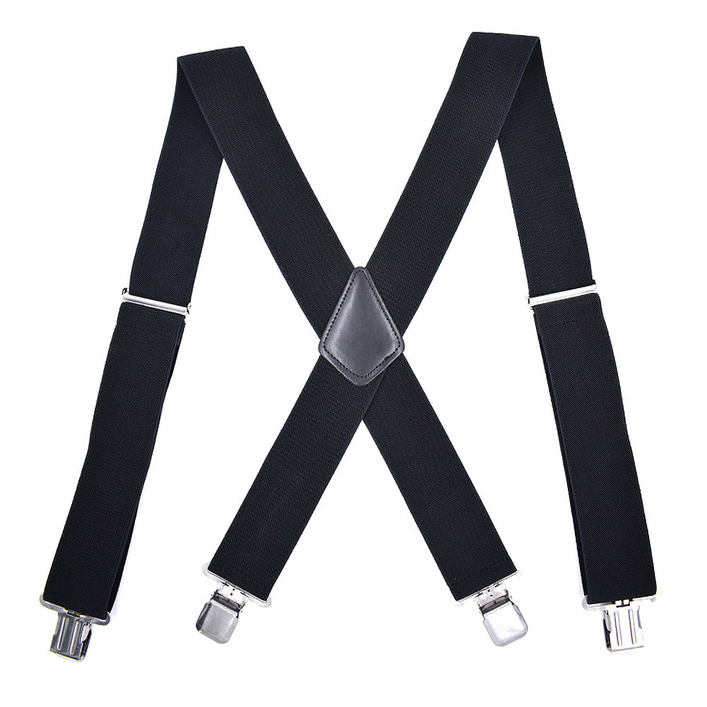 New Genuine Leather Elastic Suspenders Y-Back Cowhide 4Clip-On Adjustable Braces