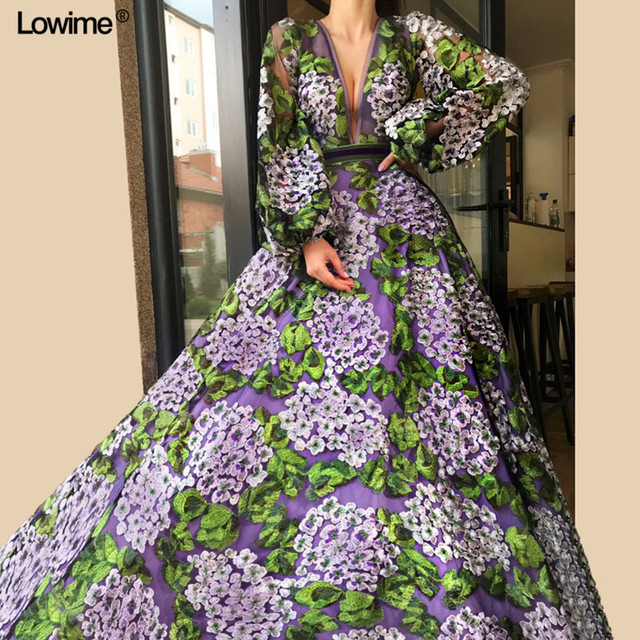 Formal Muslim Women Long Sleeves Evening Dresses 2018 Appliques Flowers Prom Party Dress Middle East Long vestidos