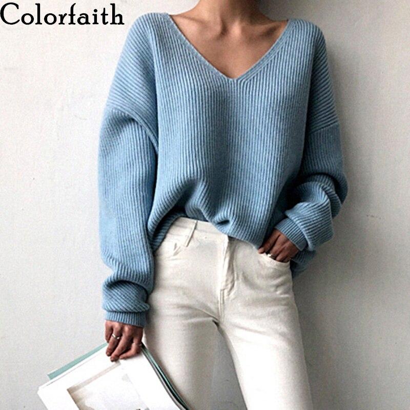 Colorfaith New 2019 Autumn Winter Women s Sweaters V Neck Minimalist Tops Fashionable Irregular Hem Knitting