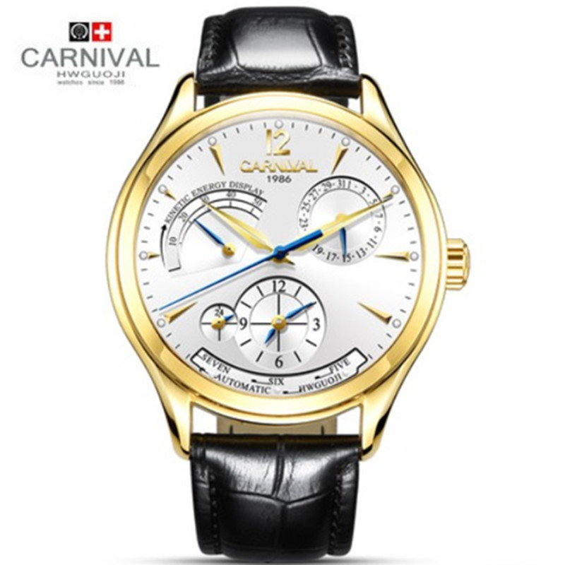 CARNIVAL Fashion Automatic Mechanical Mens Watches Top Brand Luxury Leather Strap Waterproof Men Watch Male Clock relogio 2018 fashion watches men top brand automatic mechanical wristwatch leather band waterproof luminous male clock relogio masculino 46