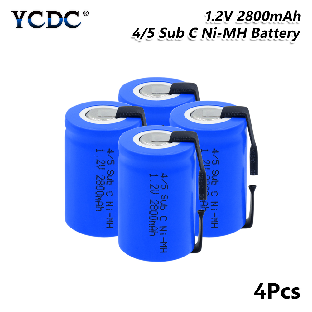 YCDC 4/5SC SC Sub C Li-ion Li-Po Lithium Battery High-discharge 1.2V 2800mAh Rechargeable Ni-MH Batteries With Welding Tabs