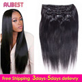 Brazilian Virgin hair Clip Ins Straight Clip In Hair Extensions Full Head Coarse Clip In Human Hair Brazilian Straight Clip Ins