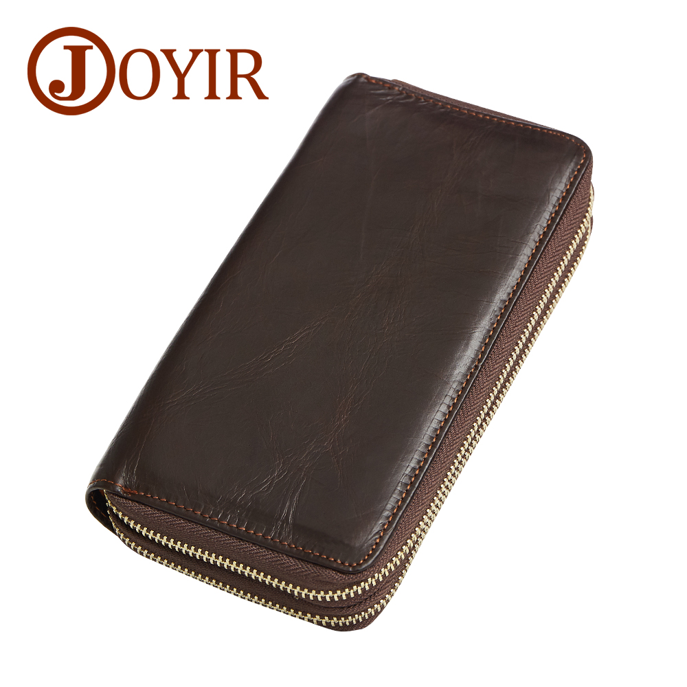 JOYIR Genuine Leather Men Wallets Zipper Design Business Male Wallet Fashion Purse Card Holder Long Clutch Wallets Male Gift New