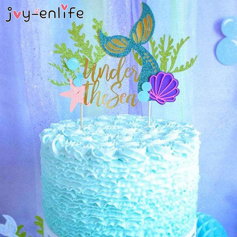 Prime Joy Enlife 1Pcs Starfish Mermaid Happy Birthday Cake Toppers Personalised Birthday Cards Akebfashionlily Jamesorg
