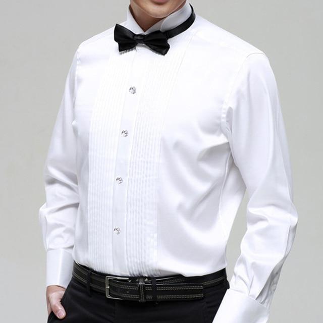 Ну вечеринку свадьба жених мальчики длинная - рукав белый вилочная часть костюм рубашка воротник рубашка вилочная часть одежда для певица танцор официальный ну вечеринку бар