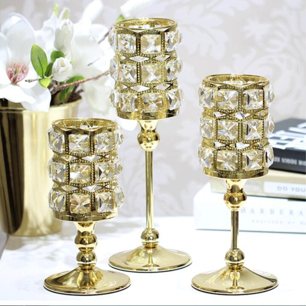 New Peculiar Metal Golden/ Silver Single Candle Crystals Holder ...