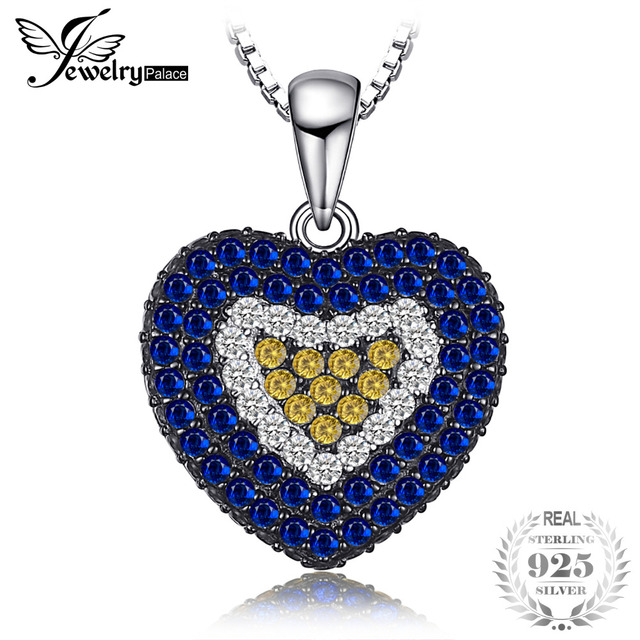 Jewelrypalace love heart 14ct created blue spinel orange sapphire jewelrypalace love heart 14ct created blue spinel orange sapphire cluster necklaces pendants 925 sterling aloadofball Image collections