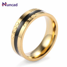 New Circle Printed Middle Black Gold Color Punk Style anillos Acero Inoxidable Anello Uomo Men Jewelry Wedding Bands