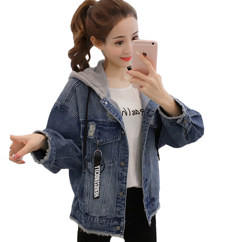 2019 Spring Autumn New Hooded Denim   Jackets   Womens Casual Loose Jeans   Jacket   Female Denim   Jacket   Coat Women   Basic     Jackets   D696