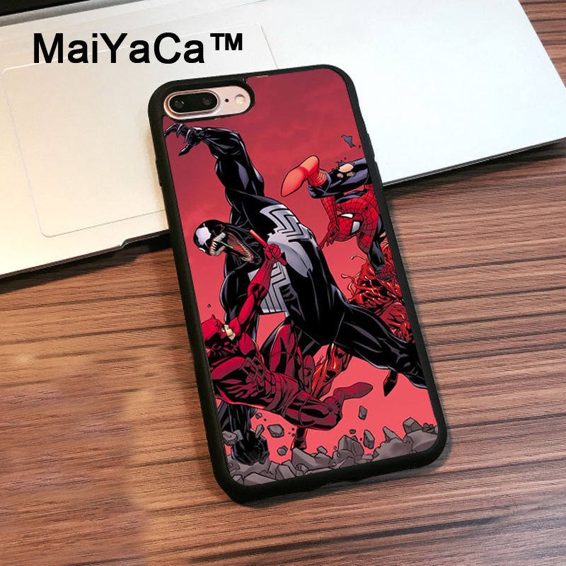 MaiYaCa SpiderMan vs Venom Carnage TPU Case For iPhone 8 Plus Cover Coque Soft Black Rubber Case For iPhone 8 Plus Shell