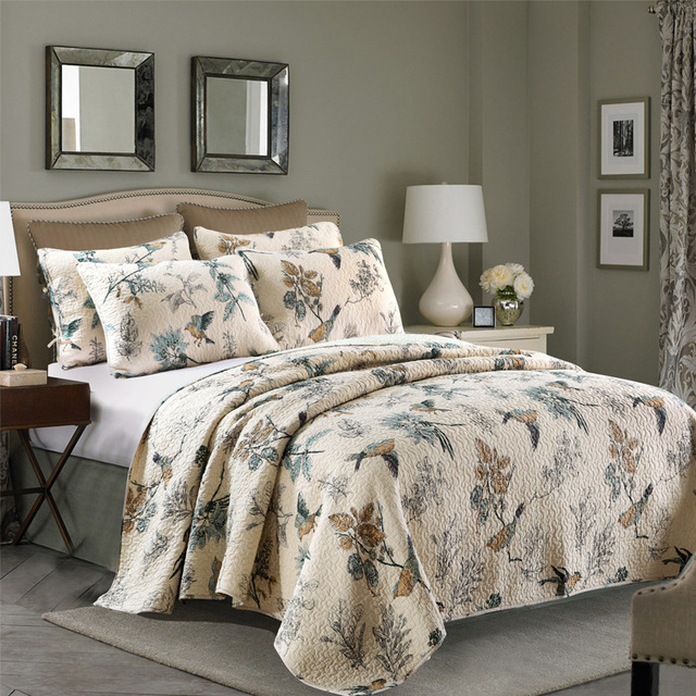 CHAUSUB Washed Cotton QUILT Set 3PCS Birds Printed Quilts Quilted BedSpread  Bed Cover Shams Bedding King