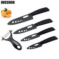 OUSSIRRO Black Blade Black Handle 3 4 5 6 Inch Peeler Covers Ceramic Knife Set Kitchen