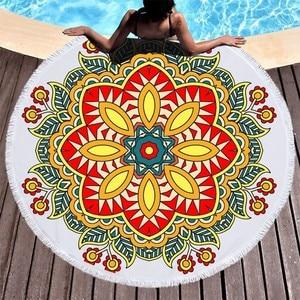 Image 3 - Round Beach Towel Mermaid Tail Mandala Printed Summer Bath Towel Large Microfiber Beach Towel Yoga Mat Tapestry Blanket Toallas