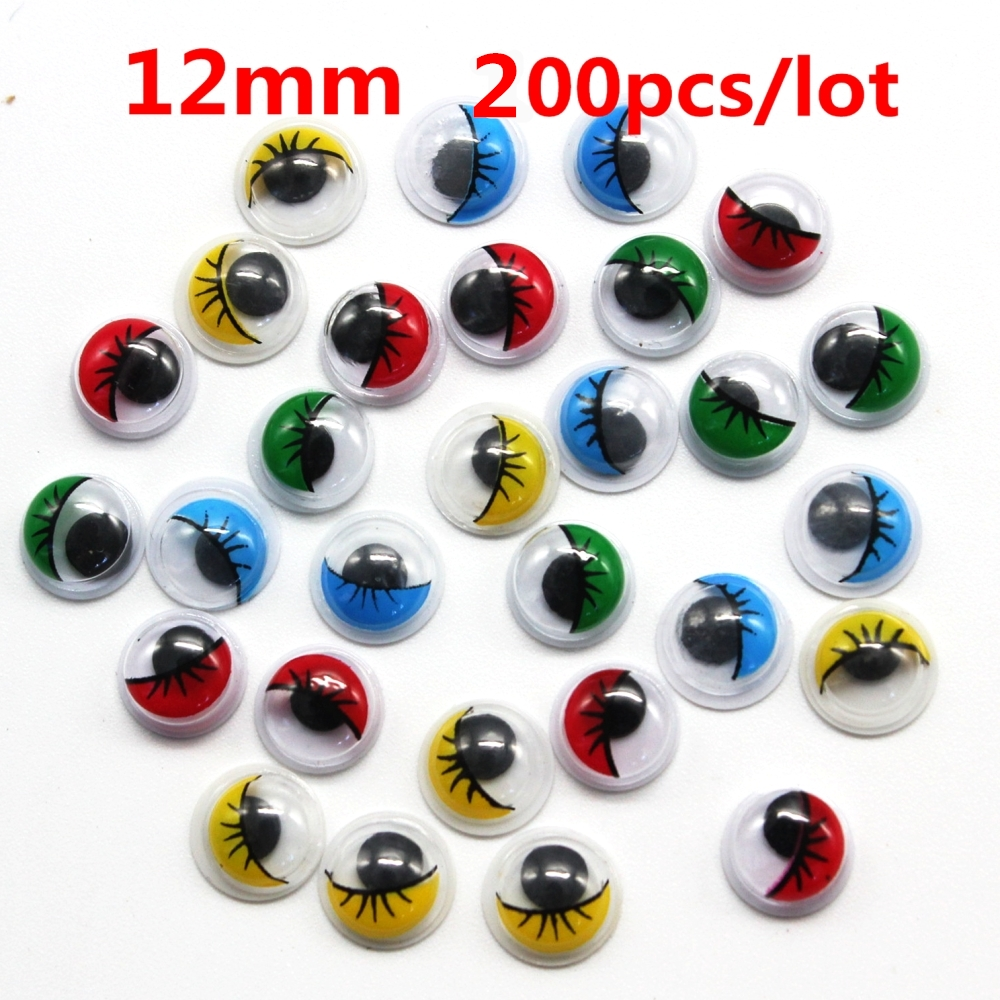 Universal 200Pcs 12mm Total Mixed Googly Eyes DIY Scrapbooking for Teddy Bear Stuffed Toy Doll Parts