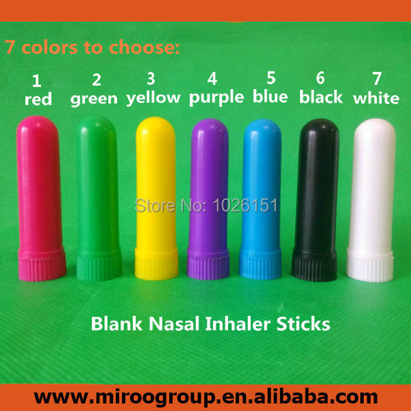 FreeShipping 200sets Colored Nasal Inhaler Blank Sticks, Plastic Aromatherapy Inhalers, Blank Nasal Inhaler Sticks(cotton wicks)-in Refillable Bottles from Beauty & Health    1