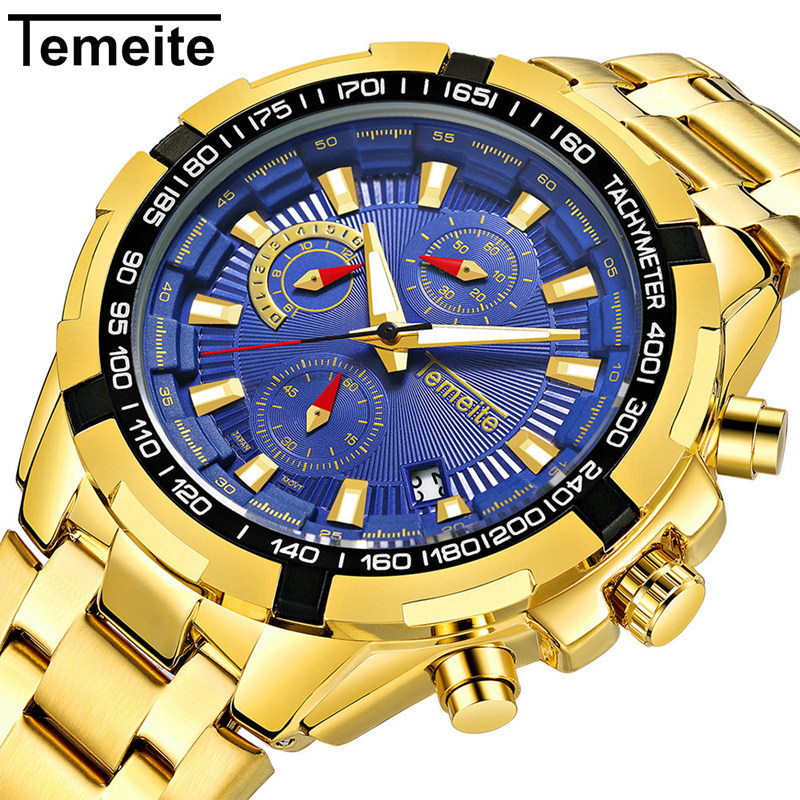 Temeite Gold Watch Men Top Brand Luxury Watches Mens Waterproof Quartz Wristwatches Man Sport Watch Clock Montre Homme 2019