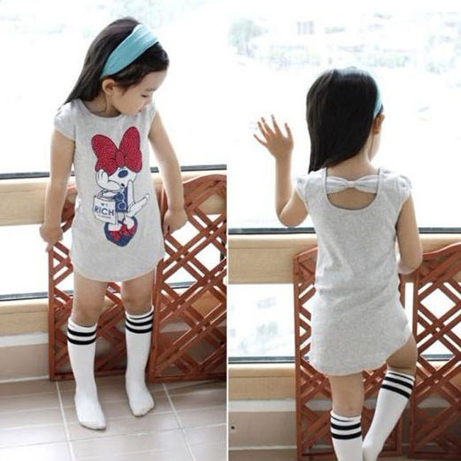 Hot Summer Minnie Girls Dress Birthday Party Mini Dress Back Hole Bow Girls Clothes 3-8Y