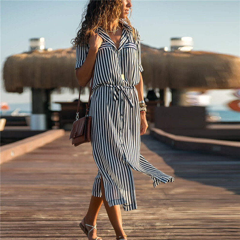 2019 Turn Down Collar Office Ladies Stripe Shirt Dress Long Chiffon Beach Dress Casual Long Sleeve Elegant Party Dress Vestidos 3