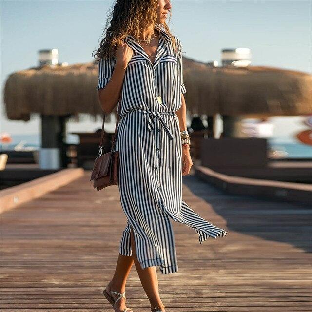 Robe-chemise longue à rayures 182 3