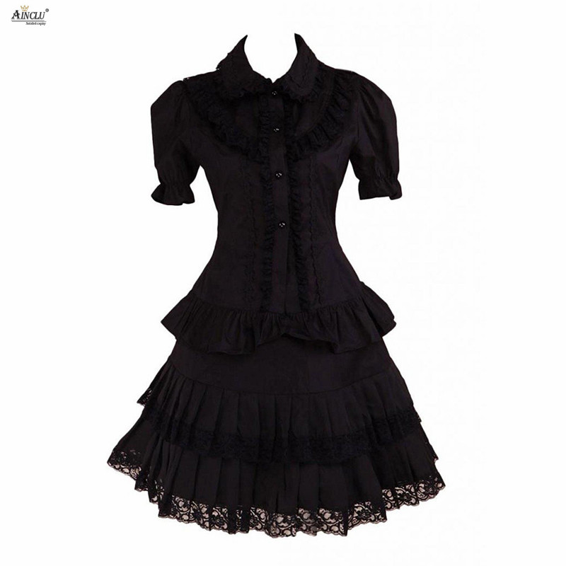 Womens Lolita Dress Gothic lolita Black Lace short Sleeves Trim Cotton Cosplay Sexy Dress/ Supporting Custom tailor Ainclu