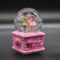A1 Valentine's Day gift pink wool couples glow snow flower crystal ball music box music box student girl LU10301525