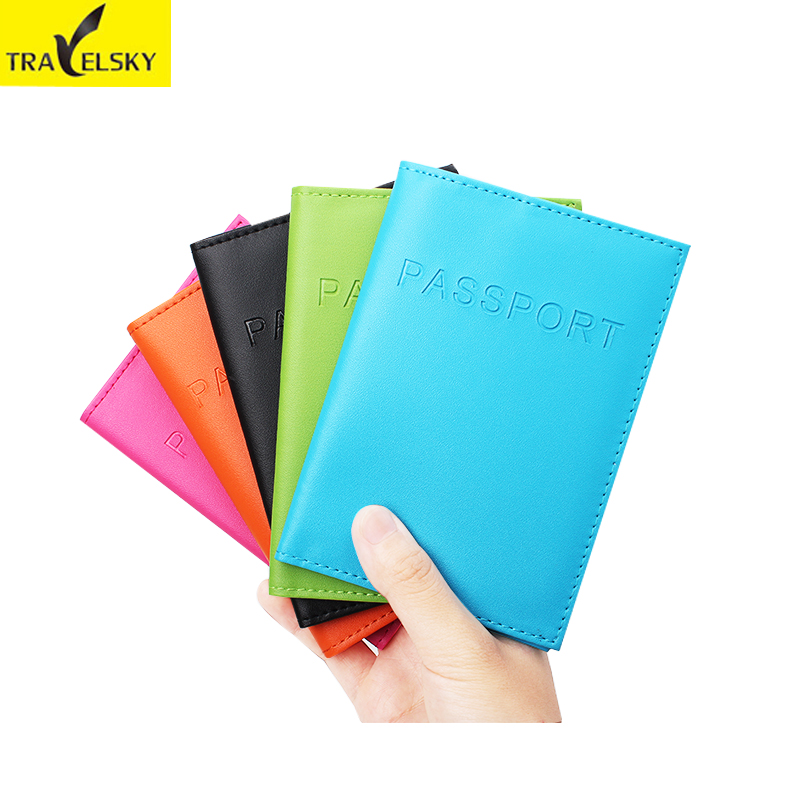 Travelsky New Fashion Men&Women RFID Passport Holder Cover Travel Passport Leather Card Tickets Holder Bag Free Shipping