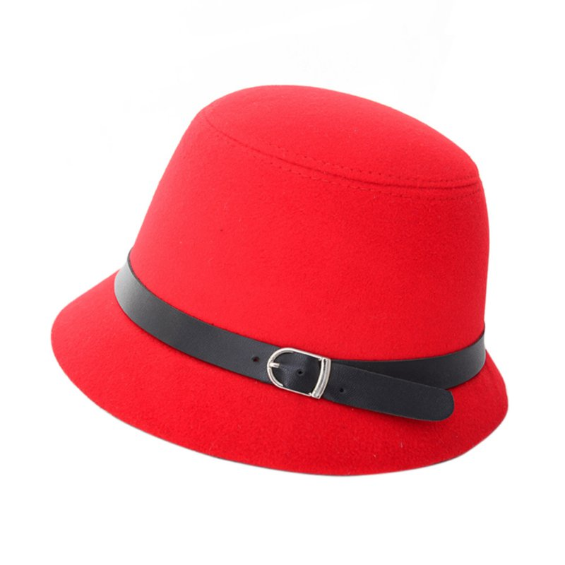 Newest Vintage Women  Hat Ladies Fedora Wool Felt Wide Brim Bowler Bucket Cap Multicolor