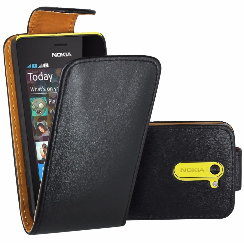 Black Flip Premium Leather Skin Bag Case Cover For Nokia Asha 502 / Nokia Asha 502 ...  Black Flip Prem...