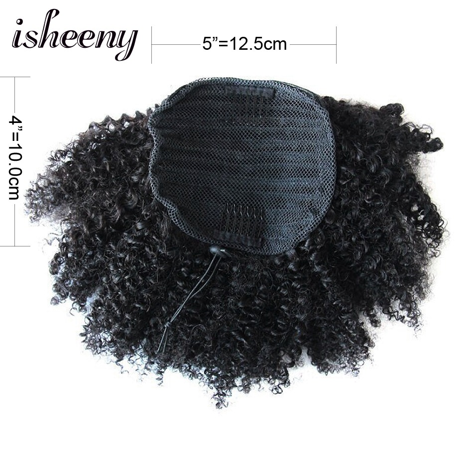 Isheeny Kinky Curly Ponytails Drawstring Clip In Brazilian Human Hair 10-20inch Natural Color Clip In Human Remy Hair Extension