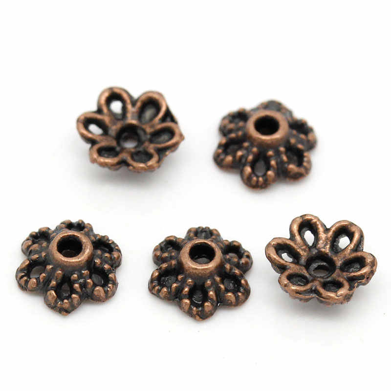 DoreenBeads cuentas de aleación de metal de Zinc tapas de cobre antiguo de flores (se adapta a cuentas de 12,0mm) 6,0mm (2/8 pulgadas) x 2,5mm (1/8 pulgadas), 55 Uds 2015 nuevo