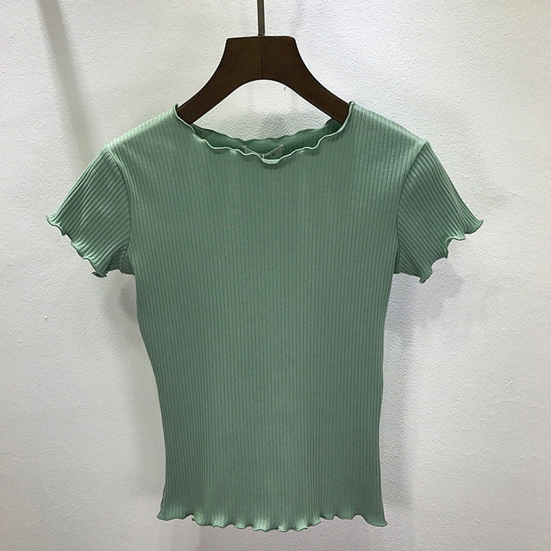 Women Tees  ruffled Shirt Trimmings Ribbed Crop Tops Solid Fashion Short Sleeve Soft And Stretchy Short T-shirt Female