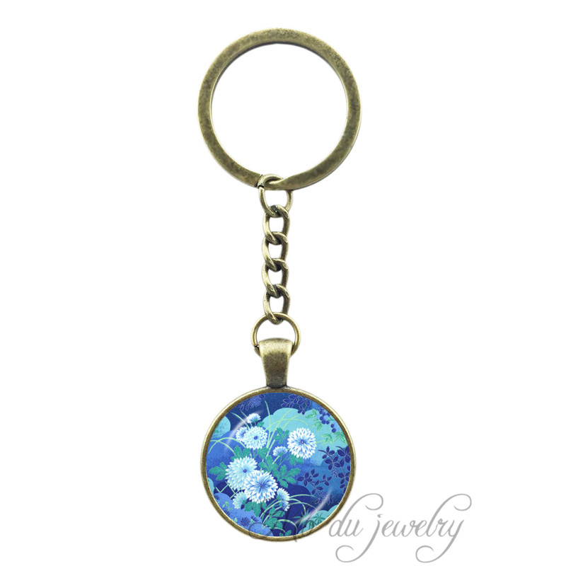Japanese Art Print Key Chain Ring Asian