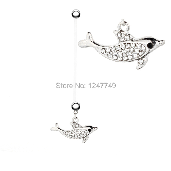 12pcs lot PTFE 22mm Dolphin font b Pregnant b font Belly Button Rings Body Piercing Jewelry