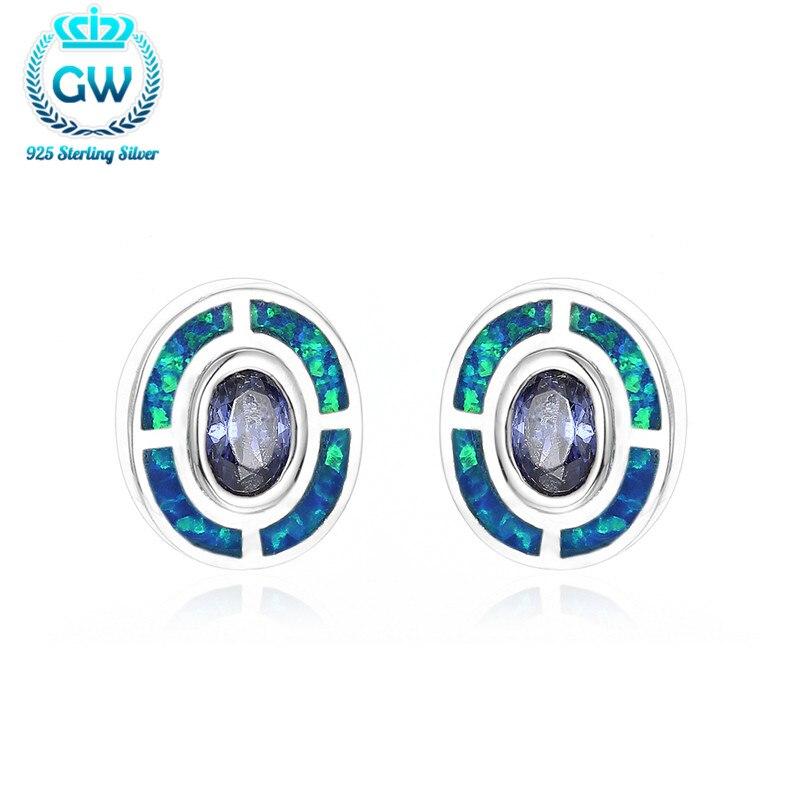 Boucles d'oreilles en opale de mode 925 boucles d'oreilles en argent Sterling pour femmes marque Gw bijoux Fe239-90