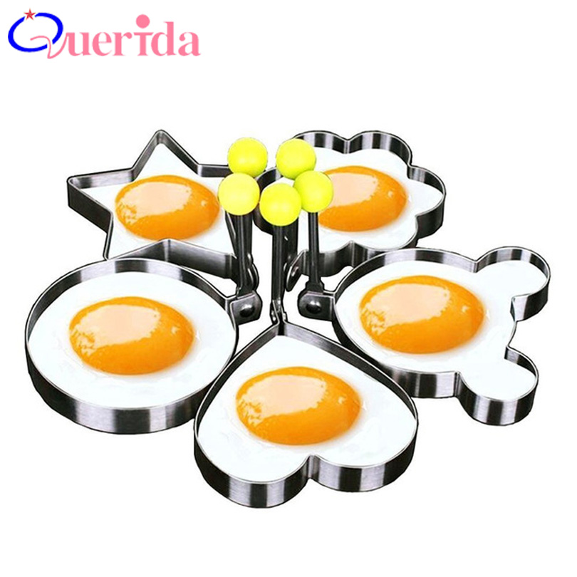Egg & Pancake Rings Kitchen,dining & Bar 5pcs/set Thicker Fried Egg Mold Stainless Steel Shaped Household Pancake Mould Form For Frying Eggs Tools Kitchen Cooking Tools To Rank First Among Similar Products