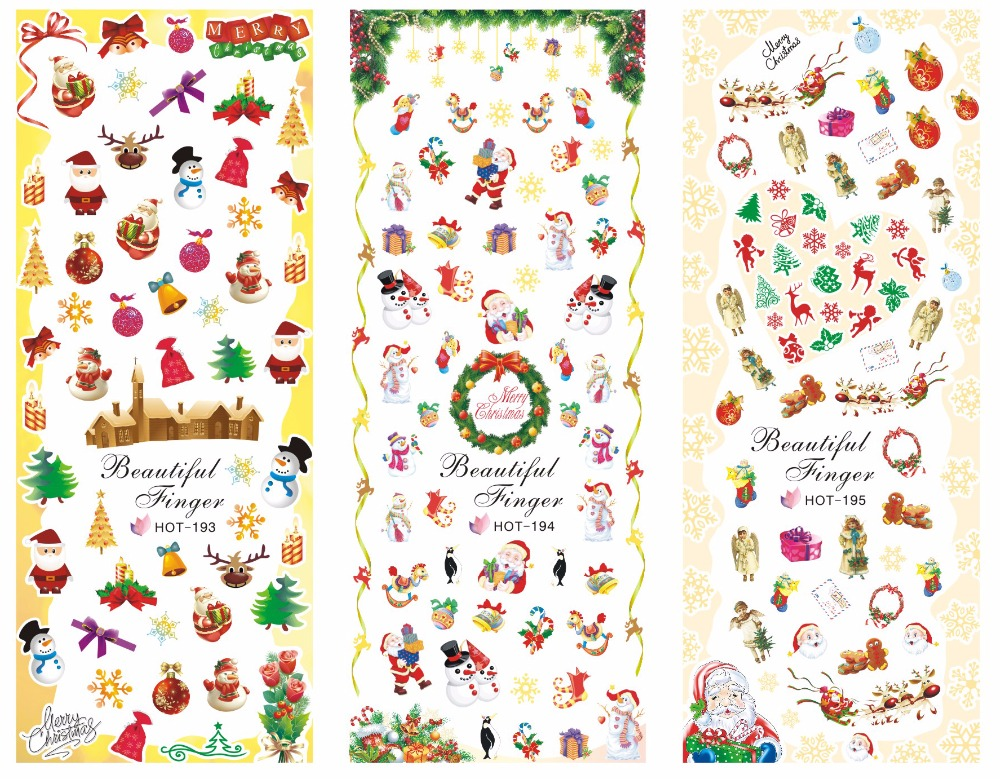 Hot193-195 3 PACK/ LOT Christmas Nail Art Stickers Water Transfer Decal, 3sheets in one bag,Hot Big Sheet ,HREEW014