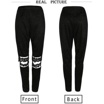 Sexy Slim Fit Lace Knee Hole Casual Pants Fashion New Style Sexy Women Pants Fashion Pantalon Femme Trousers Women 6