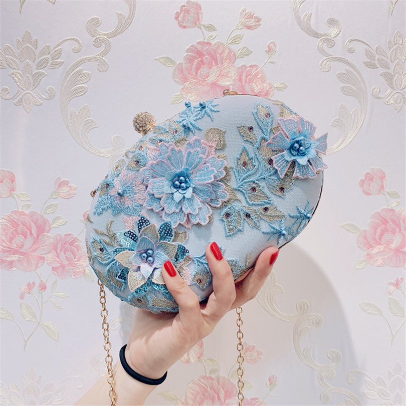 Wedding Purse Clutch-Bags Evening-Bag Floral Crossbody Shoulder-Messenger-Bags Girls