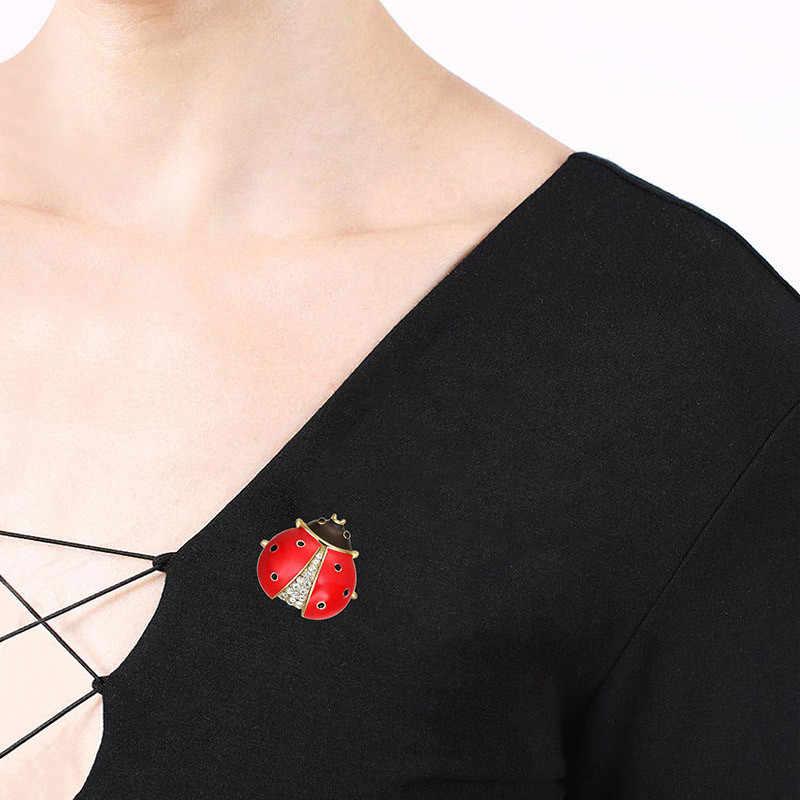 KLEEDER Dell'annata Dello Smalto Spilla Nero Rosso Sette Star Coccinelle di Cristallo Beetle Insetto Spilla Corpetto Collare Pinze Gioielli Per Le Donne